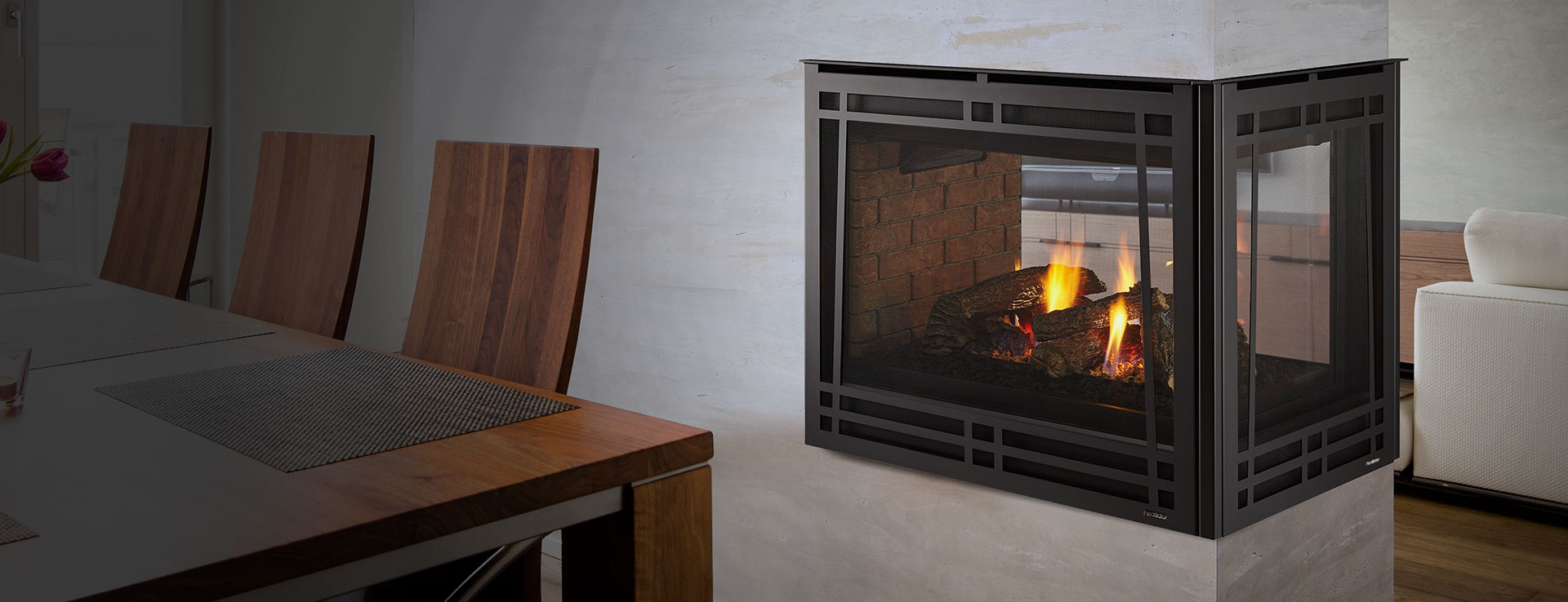 <p>Peninsula Gas Fireplace</p>