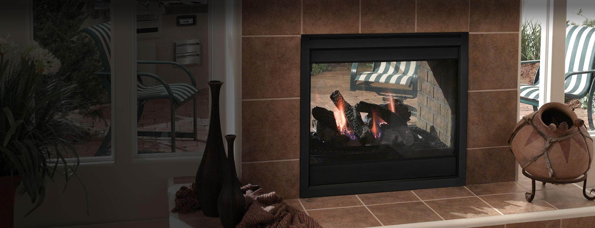 <p>Twilight II Indoor/Outdoor Gas Fireplace</p>